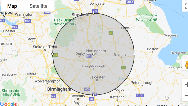 escort outcall east midlands map